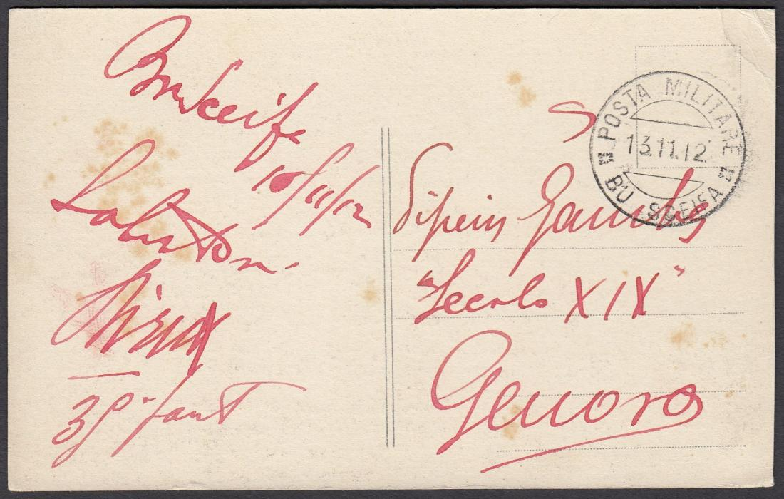 ITALIAN COLONIES: (Libia) 1912 (13.11.) stampless picture post card (of Tripoli) to GENOVA cancelled POSTA MILITARE/BU SCEIFA cds; fine.