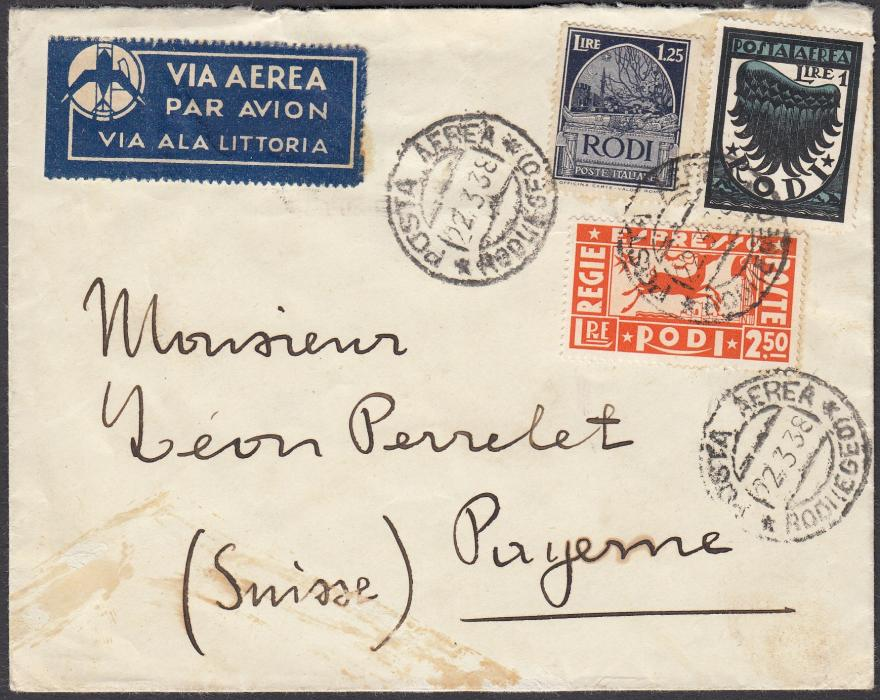 ITALY: (Aegean Islands - Rodi) 1938 air mail cover to PAYENNE, Switzerland franked postage 1L. and 1L.25 together with Express 2L.50 tied POSTA AEREA/RODI (EGEO) cds; without backstamp and some staining at base.