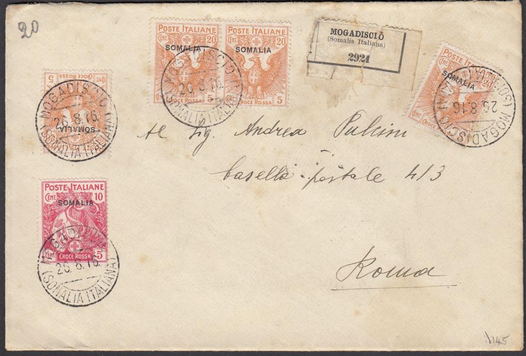 ITALIAN COLONIES: (Somalia) 1916 registered cover to ROME franked Red Cross issue 10 + 5c. and 20 + 5c. (4) tied MOGADISCIO/(SOMALIA ITALIANA) cds, arrival backstamp; some slight staining not detracting.