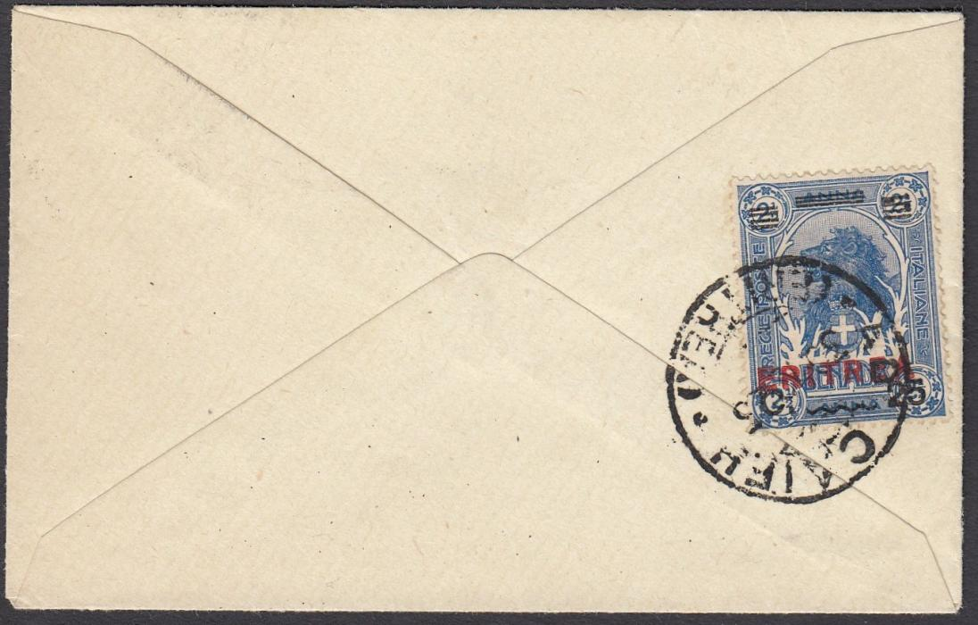 ITALIAN COLONIES: (Eritrea) 1926 (30.12) small calling card envelope to ASMARA franked on reverse 25c. on 2½a. Lion tied ADI CAIFU/(ERITREA) cds, repeated on front. Fine local unsealed cover.