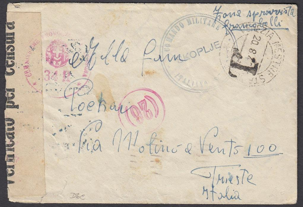 ITALIAN OCCUPATIONS (Macedonia) 1942 cover sent from SKOLPJE to Trieste bearing unique Italian Military cachet