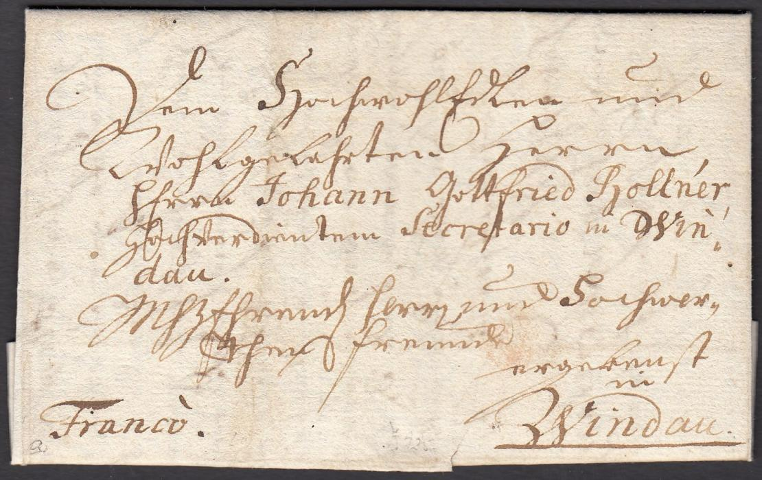 "LATVIA 1743 entire to WINDAU, without postal markings but with manuscript ""Franco""; small tear at base otherwise fine and early item."