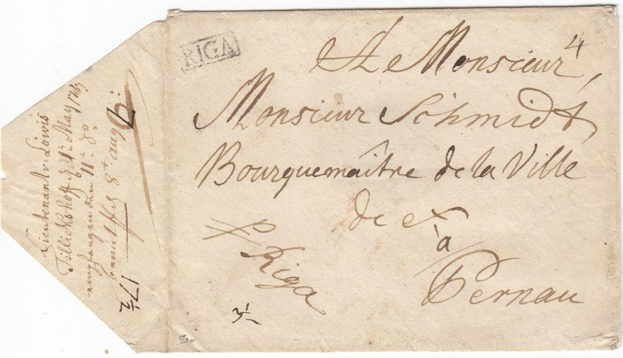 LATVIA 1767 cover to PERNAU from a Lieutenant at Tillickshoff and bearing clear framed RIGA handstamp; fine early cover.