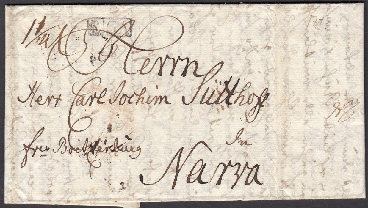 LATVIA 1775 entire to NARVA bearing small framed RIGA despatch handstamp; fine condition early cover.