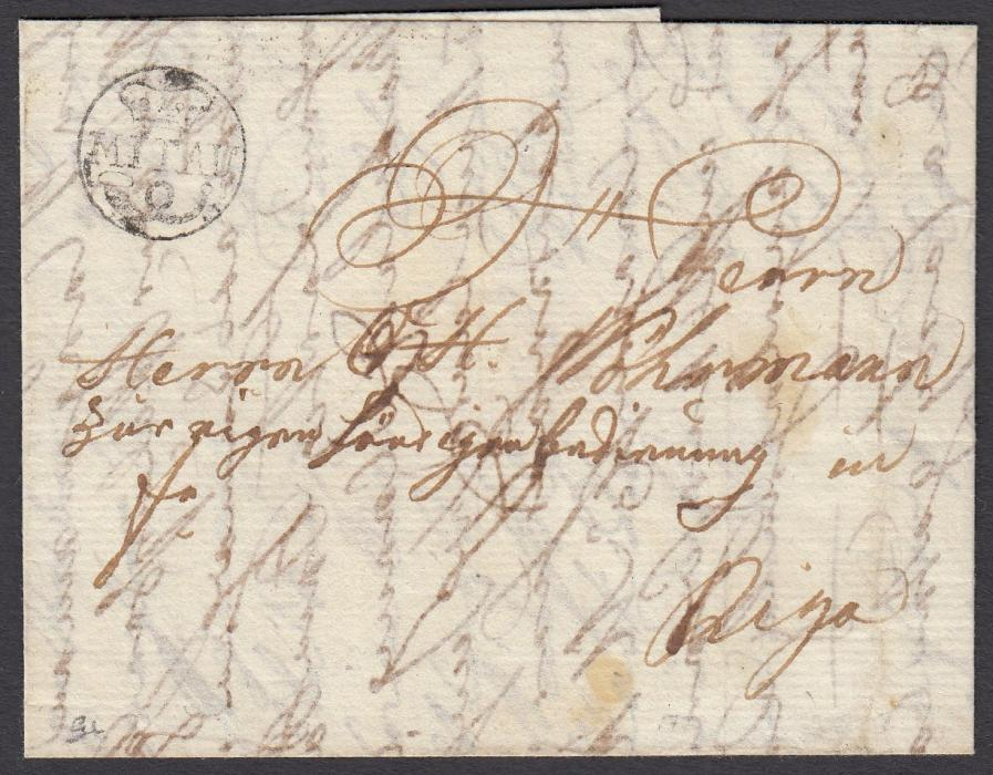 LATVIA 1779 entire to RIGA bearing good example of small circle crown/MITTAU handstamp; good quality early item.