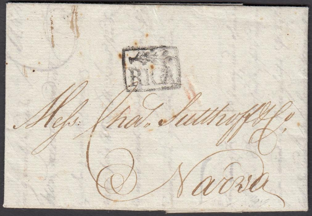 LATVIA 1786 entire to NARVA bearing small decorative framed RIGA despatch handstamp; fine condition early cover.