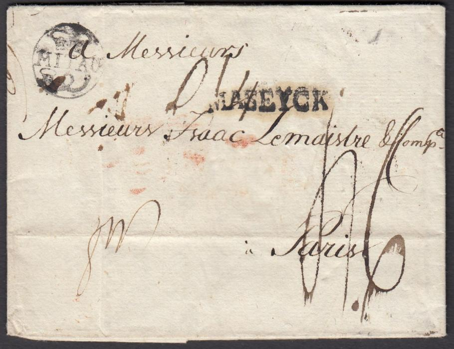 LATVIA 1788 entire to Paris bearing good example of crown and posthorn MITAU handstamp, manuscript rate markings and straight-line MASEYCK transit handstamp. Very fine early cover.