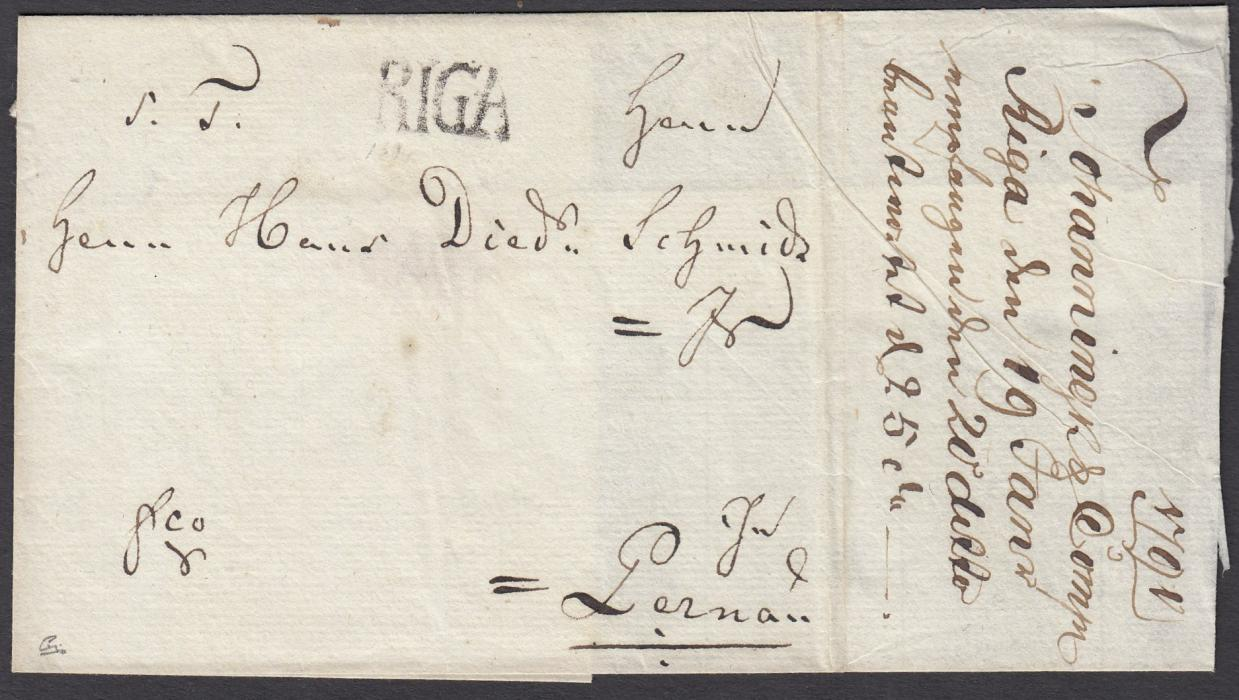 "LATVIA 1791 outer letter sheet to PERNAU bearing large RIGA despatch handstamp, manuscript ""fco"" bottom left; fine and clean condition."