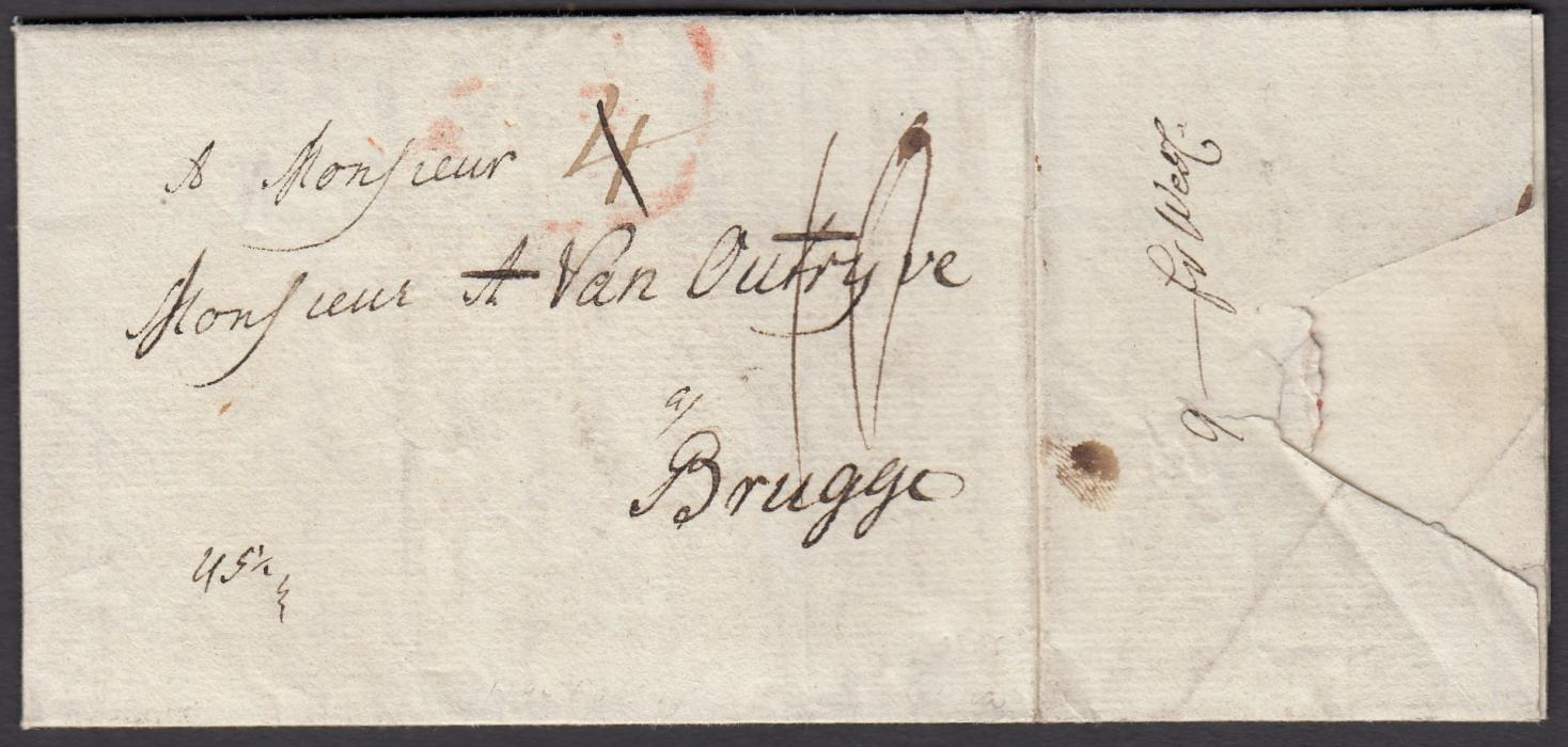 "LATVIA 1794 ""Popen en Courlande"" headed entire to BRUGGE with unclear red handstamp, various manuscript rate markings including ""9 -fr West"" on side flap; fresh condition."