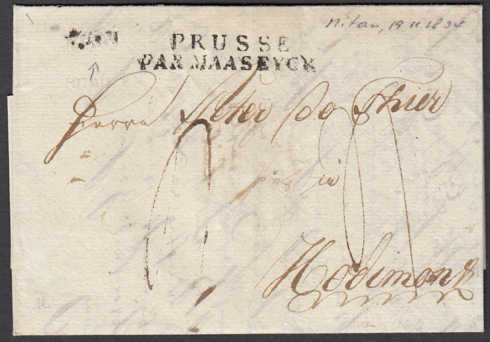 LATVIA 1804 entire to HODIMONT, Belgium bearing rare small MITAU handstamp and two-line PRUSSE/PAR MAASEYCK French entry handstamp; fine quality.