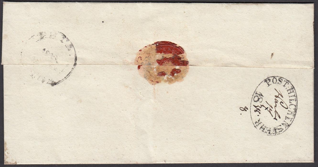 LATVIA 1838 wrapper to RIGA bearing, on reverse, oval-framed POST HILCHENSTEHR handstamp with manuscript date.