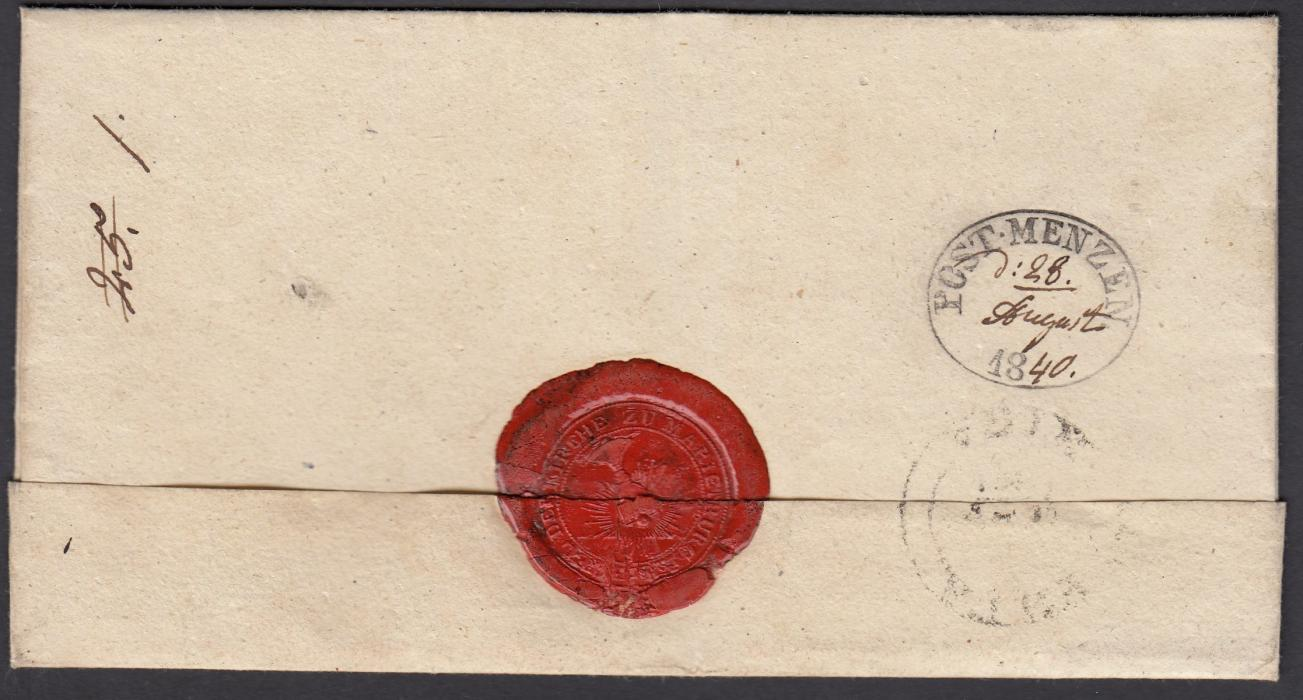 LATVIA 1840 wrapper to RIGA bearing, on reverse, oval-framed POST MENZEN handstamp with manuscript date.
