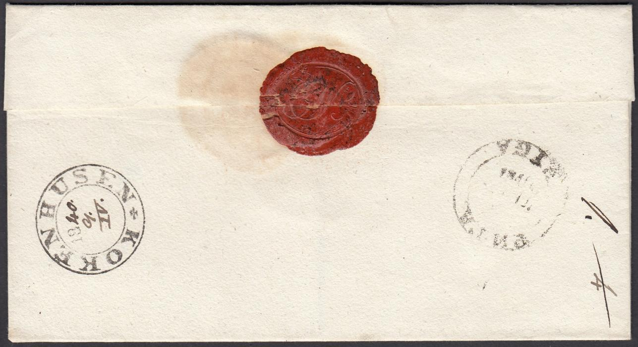 LATVIA 1840 outer letter sheet to WALK with, on reverse, very fine KOKENHUSEN despatch date stamp with the date added in manuscript, to right double-ring bilingual RIGA transit; fine and attractive.