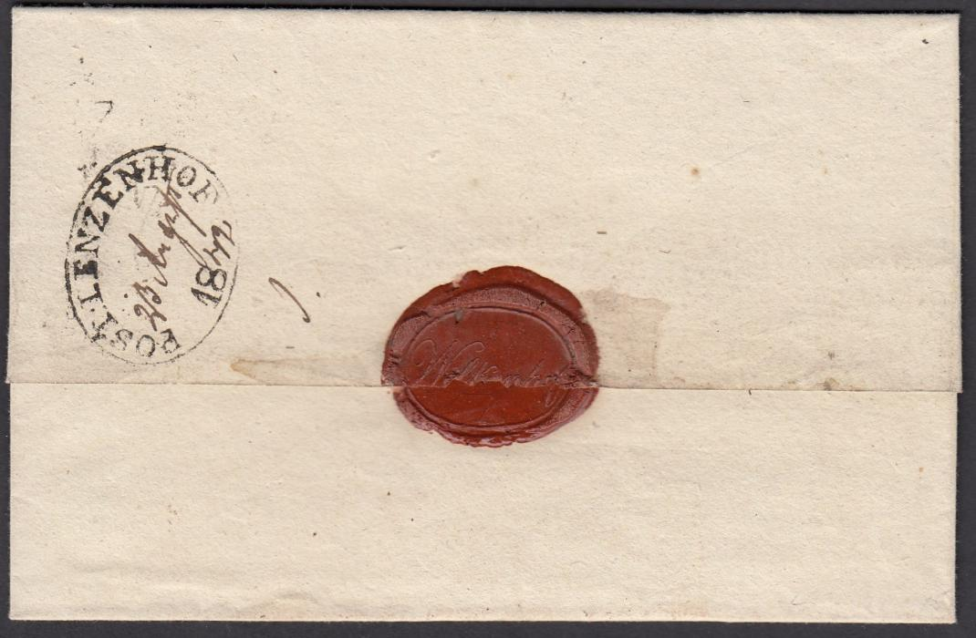 LATVIA 1842 wrapper to WOLMAR bearing, on reverse, oval-framed POST LENZENHOF handstamp with manuscript date.