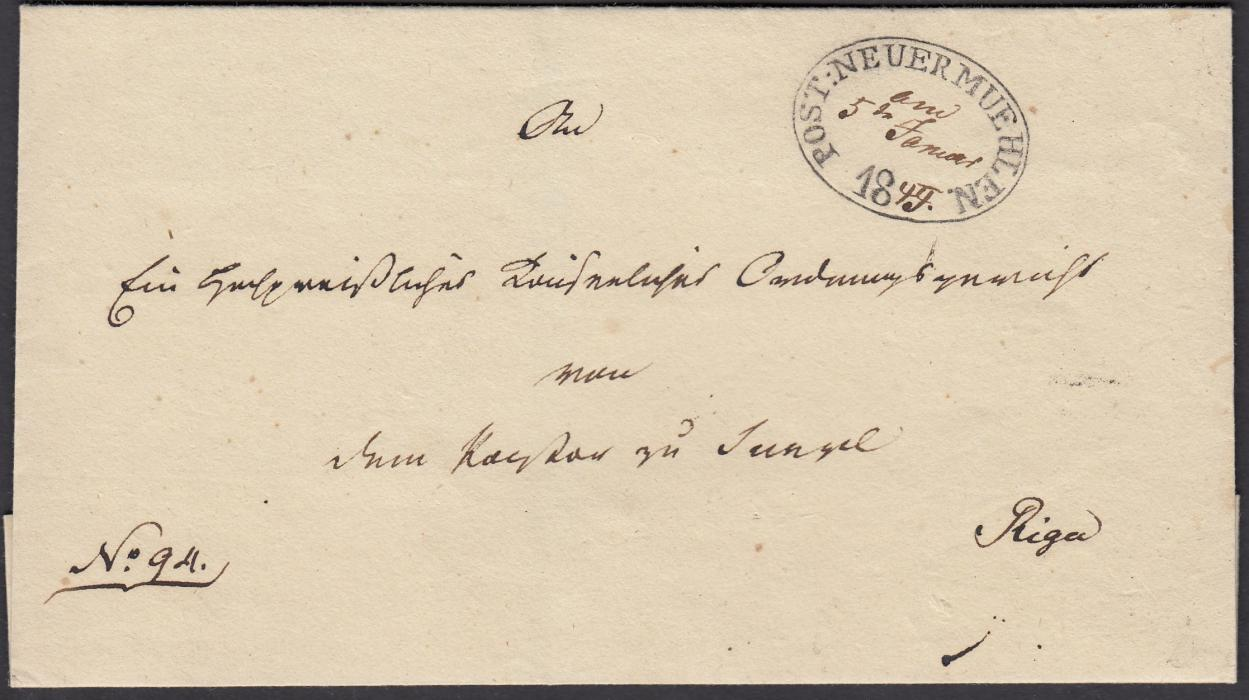 LATVIA 1849 outer letter sheet to RIGA bearing fine oval POST: NEUER MUEHLEN/18 date stamp with day, month and balance of year applied in manuscript, arrival backstamp; fine condition.
