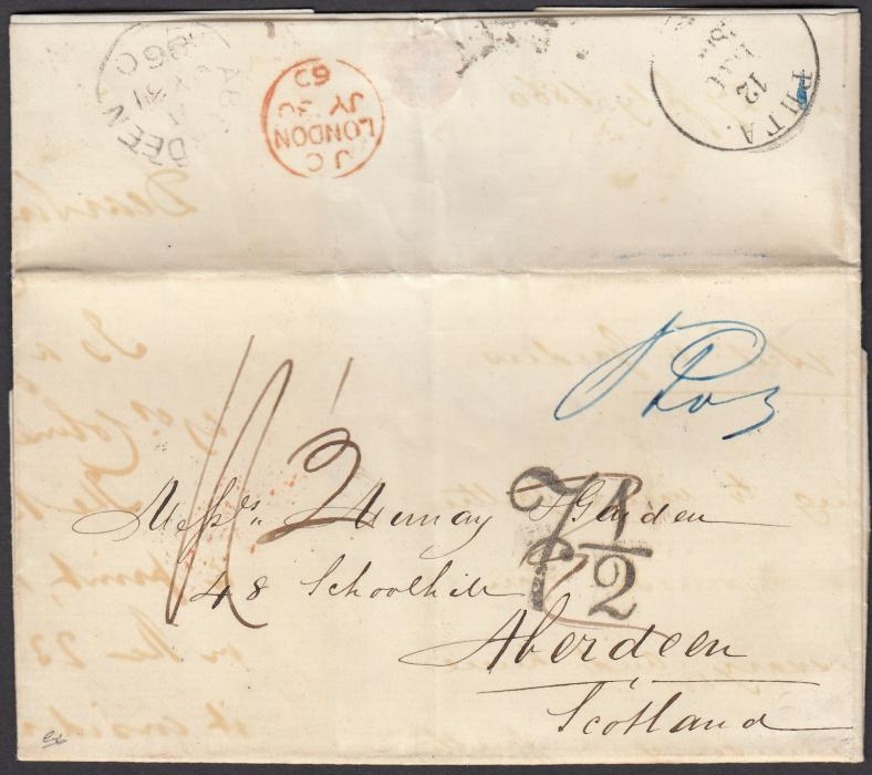 LATVIA: (Accountancy) 1860 entire from RIGA to ABERDEEN with Cyrillic despatch cds on reverse, together with LONDON transit and arrival cds, various manuscript rate markings plus 7� accountancy handstamp.