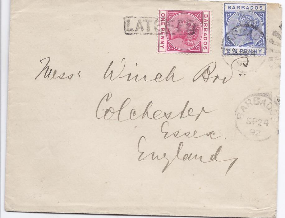 Barbados 1892 Winch Bros cover franked 2 1/2d. tied with part duplex with another strike below together with 1d. paying the late fee with framed handstamp, Colchester arrival backstamp; fine and scarce.