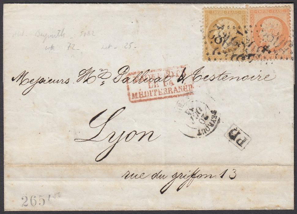 FRENCH LEVANT: (Lebanon) 1864 outer letter sheet to LYON, endorsed on inside flap as written from LE VIREY, franked perf Napoleon 10c. and 40c. tied 5082 large numeral lozenges, BEYROUTH cds below, framed PD and red framed maritime handstamp; reverse with MARSEILLE entry and arrival cds.