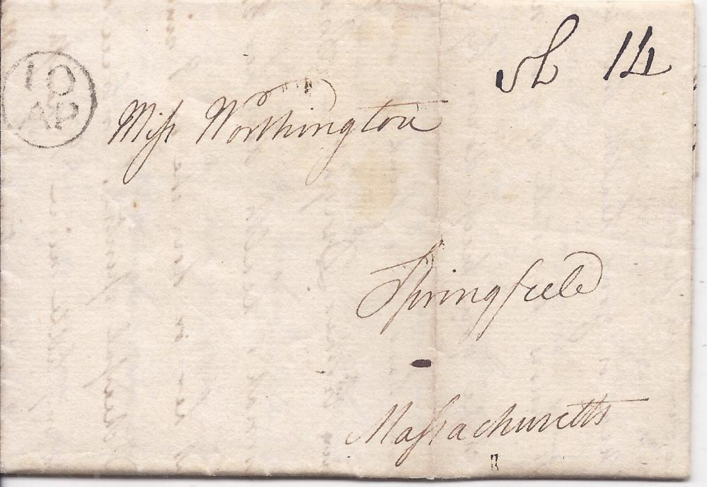 Canada New Brunswick 1799 family entire to Springfield, Massachusetts, USA bearing circular framed 10/AP handstamp and manuscript at right,vertical filing crease. an early ship letter.