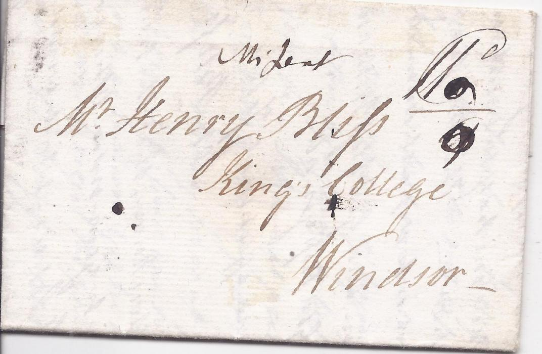 "Canada New Brunswick 1813 entire to Kings College, Windsor from Fredericton bearing FRED, N N.B. handtsamp and Halifax transit on reverse, the front with manuscript ""Missent"", good condition"