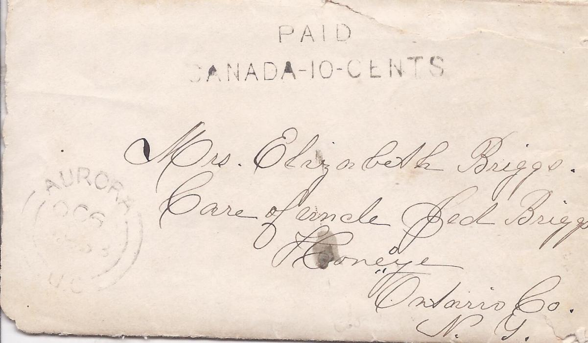 Canada 1863 cover and original letter to Honeye, Ontario Co., NY, USA, bearing Aurora cds and two-line PAID/ CANADA-10-CENTS handstamp, slight faults to envelope.