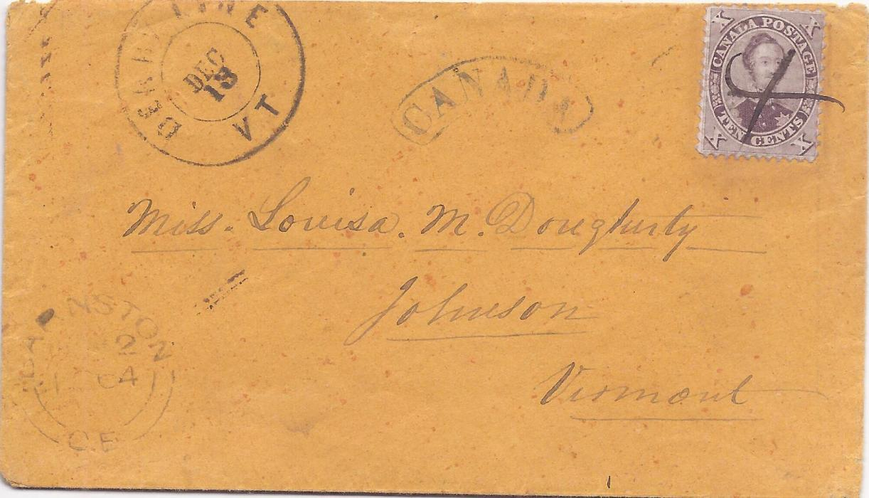 Canada 1864 cover to Johnson, Vermont, USA bearing single franking perf 10c. Prince Albert tied by pen cross, arced framed CANADA handstamp and despatch cds bottom left, arrival cds at top, attractive envelope.