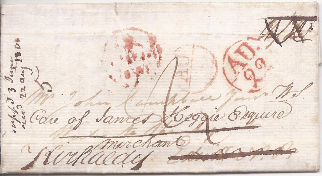 "Canada Nova Scotia 1804 entire to London bearing on reverse two-line Halifax date stamp, on arrival forwarded with manuscript ""Care of James Heggie Esquire/ Merchant Kircaldy"" and showing appropriate red cancels."