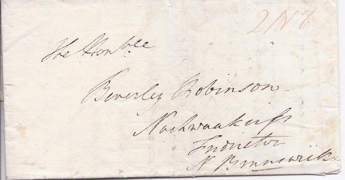 "Canada Incoming Mail 1811 part entire to ""Beverley Robinson"" New Brunswick bearing faint manuscript rate markings, reverse with fine Quebec fleuron."