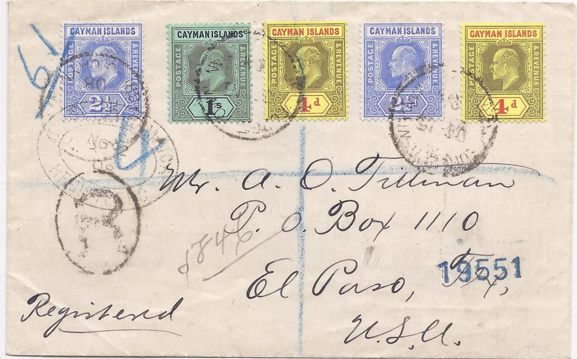 Cayman Islands 1908 registered cover to USA bearing KEVII  2�d. (2), 4d. (2) and 1s. tied cds, manuscript registration and �R� handstamp, Kingston Jamaica Registration transit, reverse with New York transits and El Paso arrival cancels.