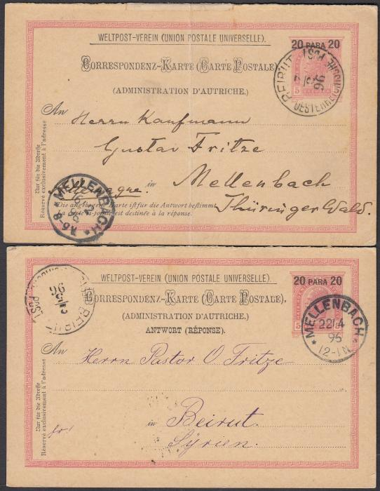 AUSTRIAN LEVANT: (Lebanon) 1896 (7/2) 20 Para 20 on 5k. reply stationery card with outer section to MELLENBACH, Austria and cancelled BEIRUT/OESTERREICHES POST, arrival cds to left of 16/2. The reply section returned to Beirut on 22/4 with arrival cds of 2/5. Each card with long messages. The outward card with vertical crease and cards separated although is likely they were once a pair.