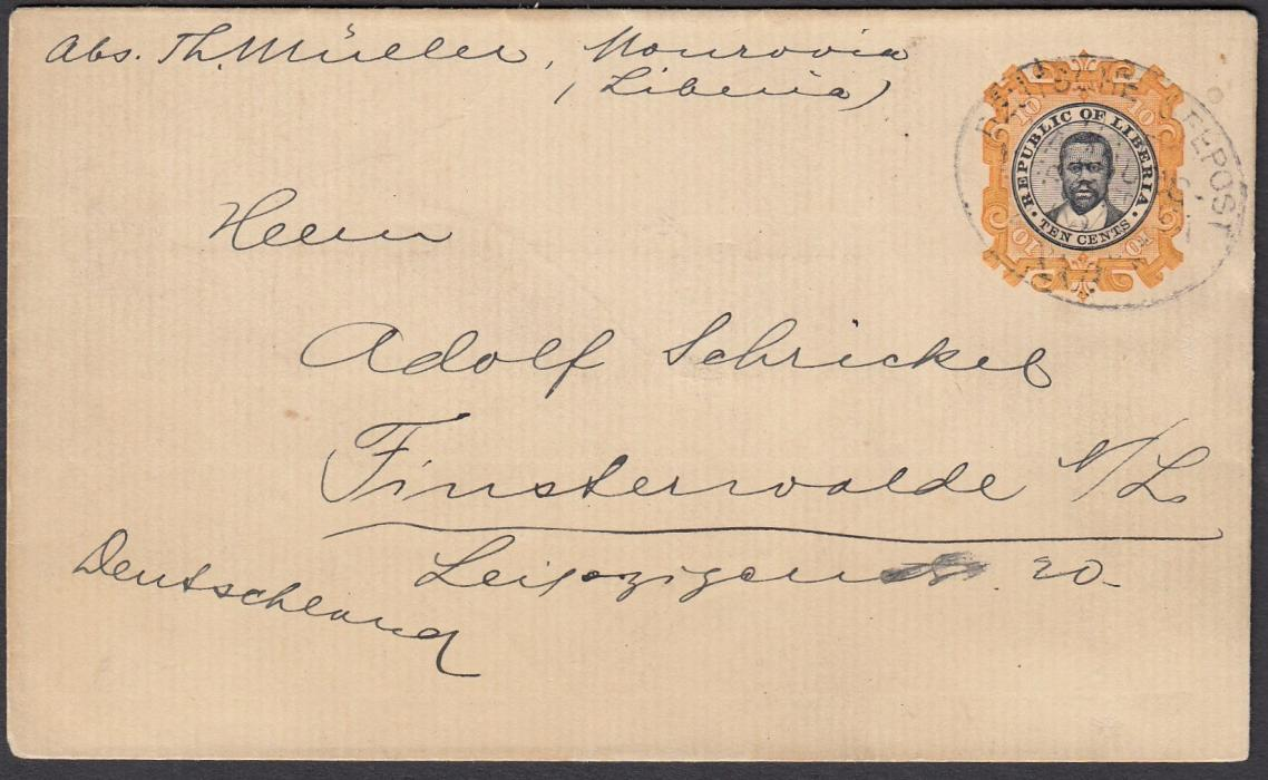 LIBERIA 1894 10c. postal stationery envelope to Germany cancelled by oval DEUTSCHE SEEPOST/LINIE HAMBURG WESTAFRIKA XXII date stamp.