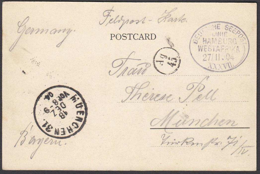 "LIBERIA 1904 picture post card of Monrovia troops addressed to Germany, endorsed ""Feldpost"" with oval DEUTSCHE SEEPOST/LINIE/HAMBURG/WESTAFRIKA/27/11.04/XXXVII date stamp, MUNICH arrival cds to left; good condition."