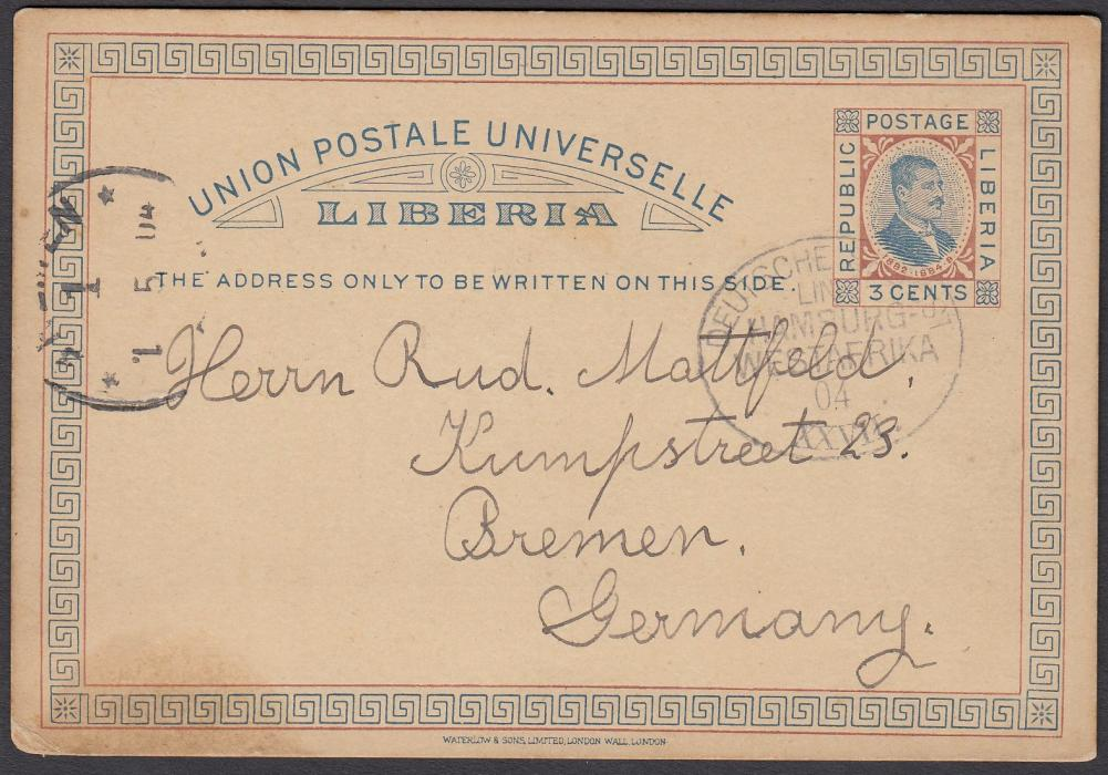 "LIBERIA 1904 3c. postal stationery card to Germany cancelled by oval DEUTSCHE SEEPOST/LINIE/HAMBURG/WESTAFRIKA/04/XXVII date stamp, BREMEN arrival cds at left. The card is datelined ""S.S. Gretchen Bohlen"". Cockerill does not record this date stamp tied to the S.S. Gretchen Bohlen."