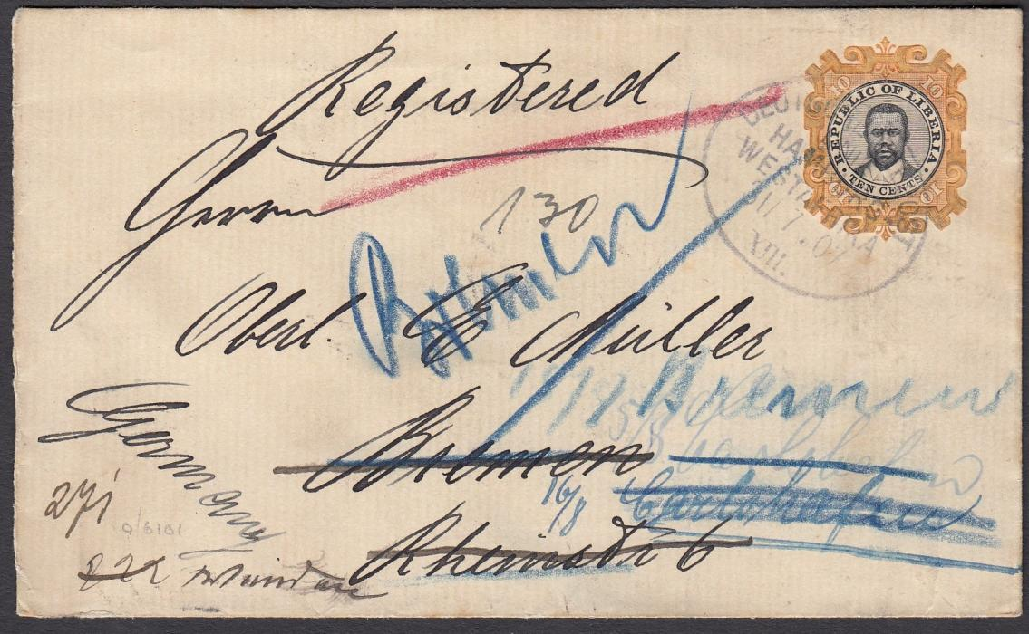 LIBERIA 1907 10c. registered postal stationery envelope to Germany with image tied by oval DEUTSCHE SEEPOST/LINIE/HAMBURG/WESTAFRIKA/31/7.07/XIII date stamp, re-directed from Bremen to Hannover.
