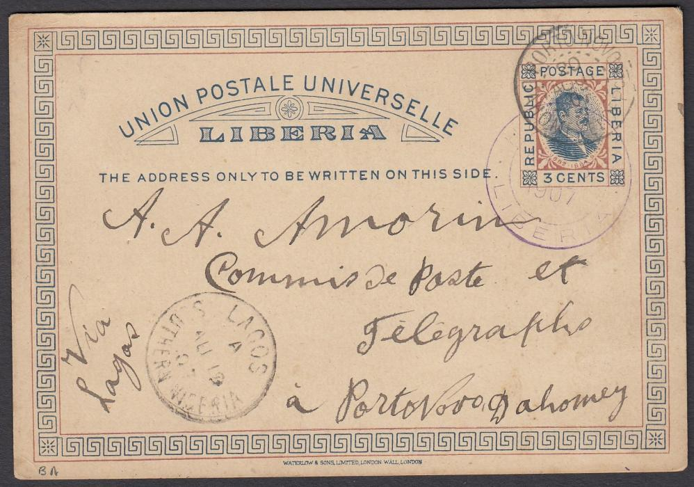 LIBERIA 1907 3c. postal stationery card to DAHOMEY cancelled violet HARPER cds, LAGOS, Southern Nigeria transit and PORTO NOVO arrival cds also over stamp image; generally good condition.