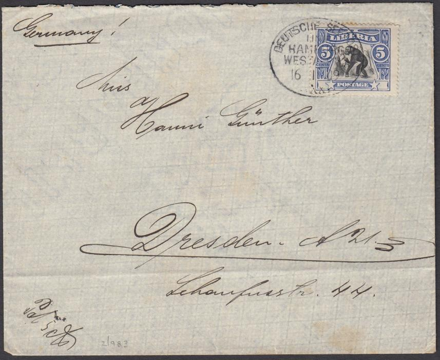 LIBERIA 1909 cover to Germany bearing single franking 5c. MONKEY tied oval DEUTSCHE SEEPOST/LINIE/HAMBURG/WESTAFRIKA/XXXI date stamp; arrival backstamp.