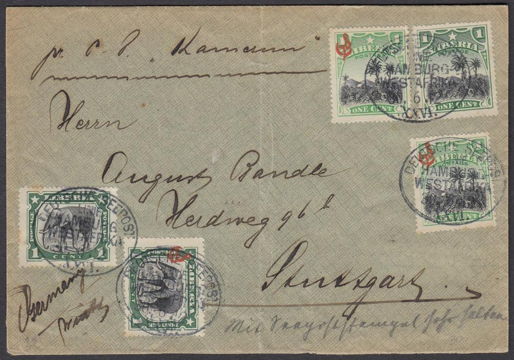 "LIBERIA 1912 cover to Germany endorsed ""pr Kamerun"" with adhesives, a mixture of postal and official issues tied by oval DEUTSCHE SEEPOST/LINIE/HAMBURG/WESTAFRIKA/XXVI date stamps."