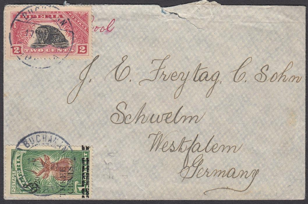 LIBERIA 1921 envelope to SCHWELM, Germany franked 2c. + Three Cents on 1c. cancelled BUCHANAN date stamp. On reverse FREETOWN/SIERRA LEONE transit cds.