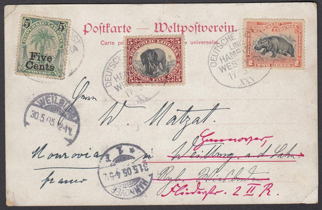 LIBERIA 1905 Woermann Line picture post card to Germany with adhesives tied by oval DEUTSCHE SEEPOST/LINE/HAMBURG/WESTAFRIKA/XXV date stamps; re-directed on arrival.
