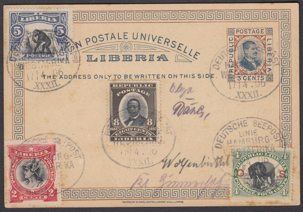 LIBERIA 1906 3c. postal stationery card up-rated to Germany with image and stamps each tied oval DEUTSCHE SEEPOST/LINIE/HAMBURG/WESTAFRIKA/XXXII date stamps; blank on reverse.