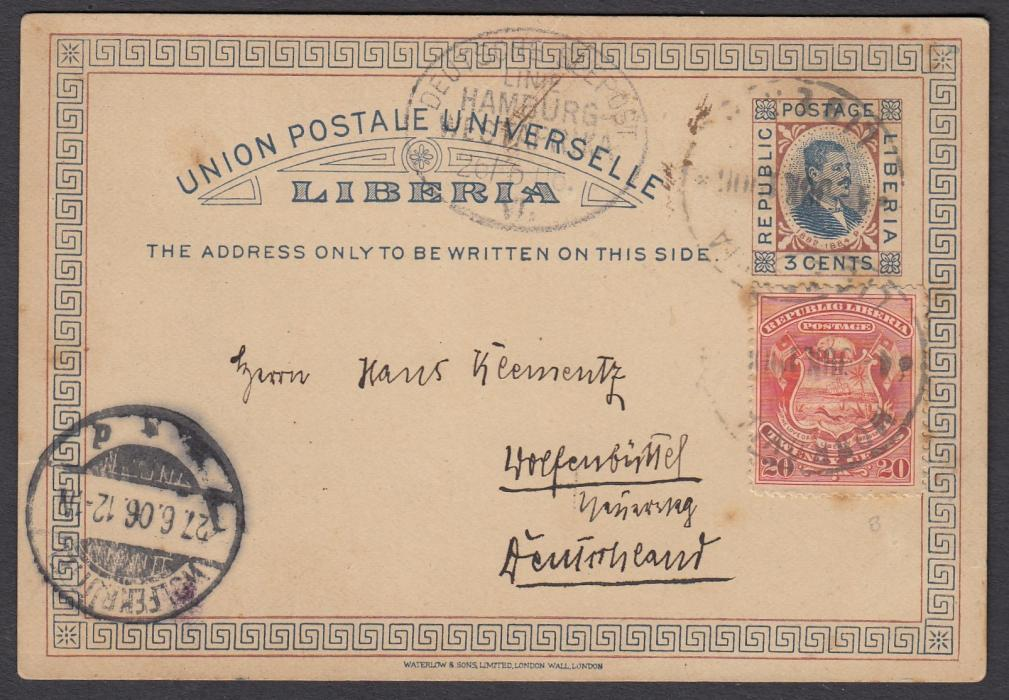 LIBERIA 1906 3c. postal stationery card to Germany up-rated 20c., tied MONROVIA cds, oval DEUTSCHE SEEPOST/LINIE/HAMBURG/WESTAFRIKA/VII date stamp alongside; arrival cds at left.