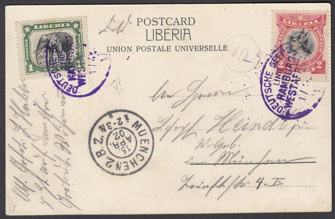 LIBERIA 1907 picture post card to Germany with stamps cancelled by oval DEUTSCHE SEEPOST/LINIE/HAMBURG/WESTAFRIKA date stamp with unclear roman numeral. Arrival cancel at base.