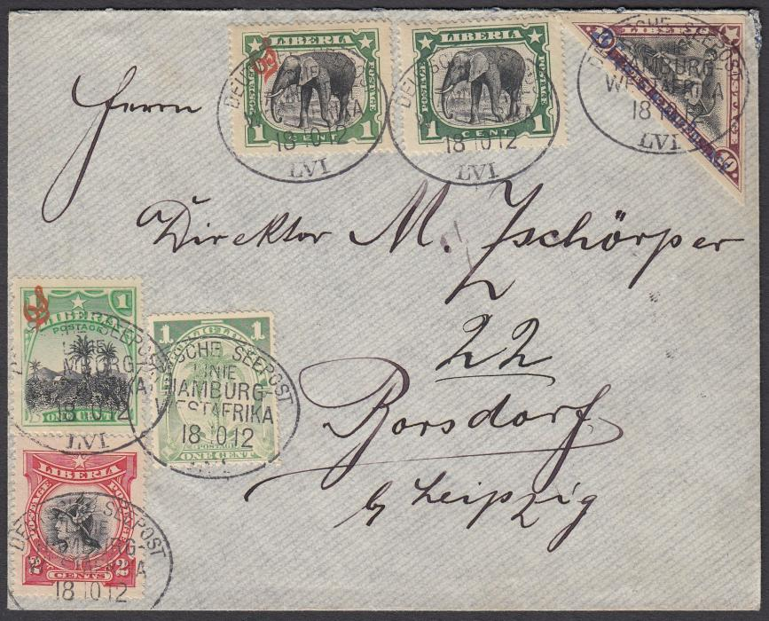 LIBERIA 1912 cover to Germany with multiple franking each tied by oval DEUTSCHE SEEPOST/LINIE/HAMBURG/WESTAFRIKA/LVI date stamps.