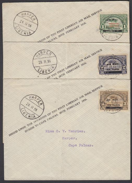 "LIBERIA 1936 Provisional Airmail issues set of three on individual covers bearing printed ""ISSUED UPON THE OCCASION OF THE FIRST LIBERIAN AIR MAIL SERVICE/DUSIDE TO CAPE PALMAS, 28TH FEBRUARY 1936."", each with MONROVIA despatch and HARPER arrival. Fine and rare."