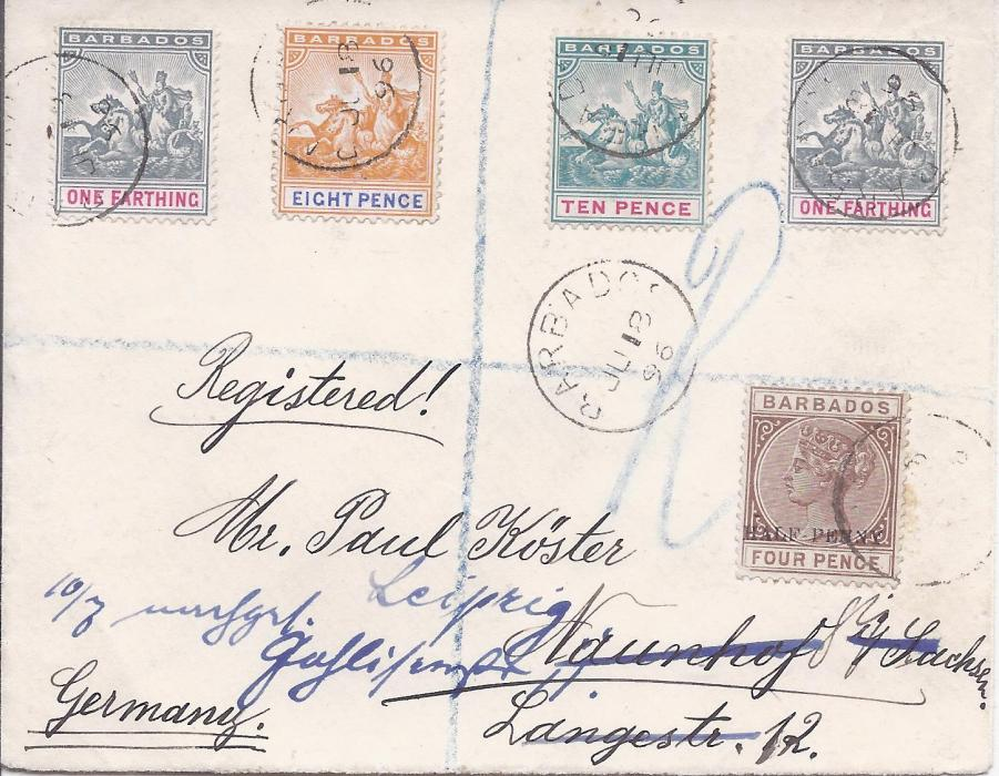 Barbados 1896 (JU 18) registered cover franked 1892 �d on 4d. plus �Seal of Colony� �d. (2), 8d. and 10d. tied cds, reverse with registration label and arrival cds.