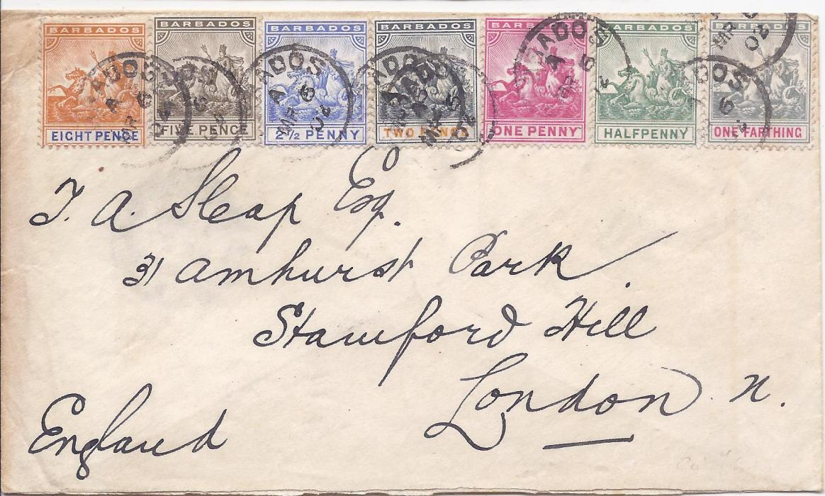 Barbados 1902 cover to London franked �Seal of Colony� �d. to 5d. plus 8d. tied index A cds; some slight ageing to colourful franking envelope.