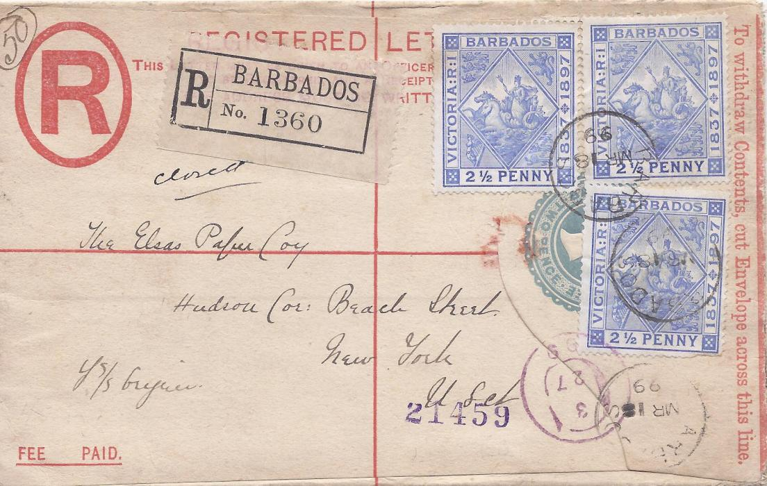 Barbados 1899 2d. postal stationery envelope to New York uprated thee 2 1/2d. tied cds, clean condition with arrival cancels.