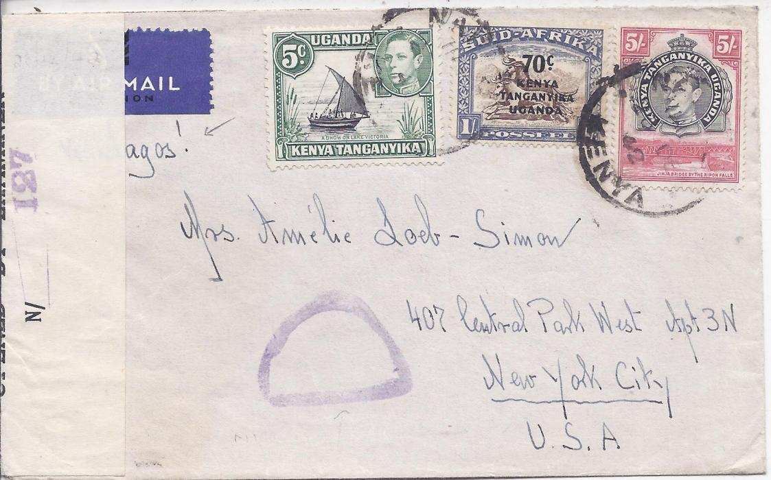 Kenya, Uganda & Tanganyika 1942 (28. Dec.) censored airmail cover via Lagos to New York franked 5c., 70c. on 1/- and perf 14 5/- tied Nairobi cds. Nigerian censor handstamp and sealing tape.