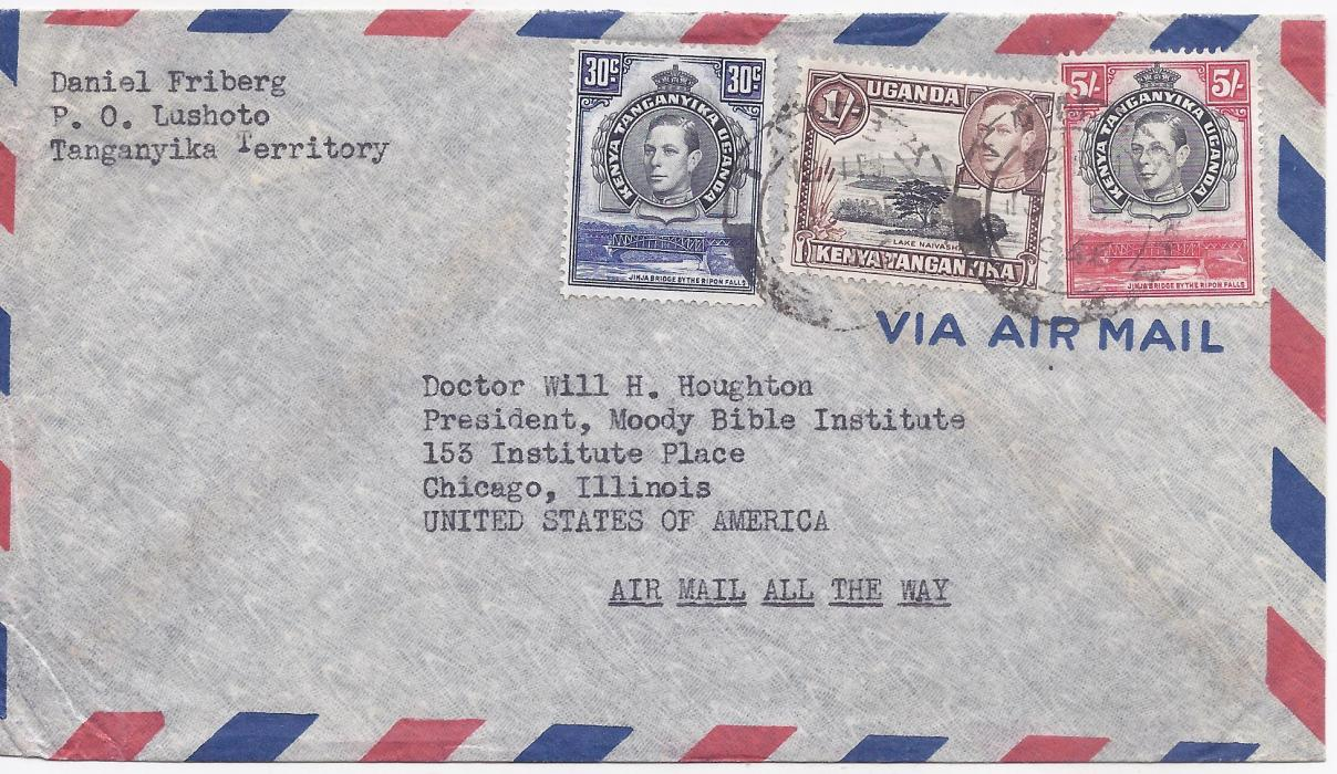 Kenya, Uganda & Tanganyika 1946 (30 Jan.) airmail cover to United States franked 6s30c double rate, the franking including perf 13� x 13�  5s., without  backstamps, fine condition.