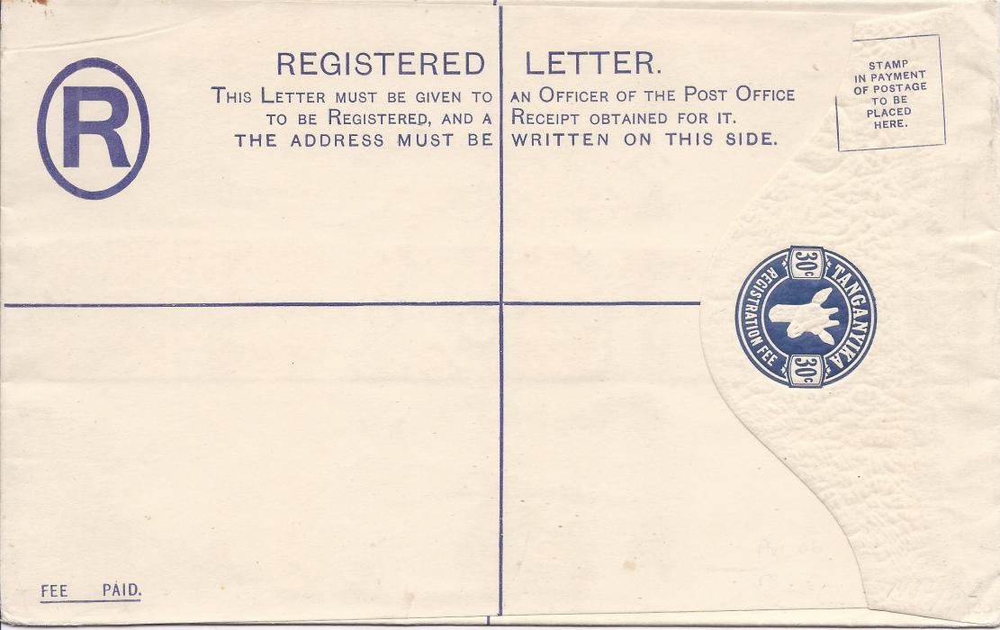 Tanganyika 1925 30c, size H, �Giraffe� registration envelope diagonally overprinted SPECIMEN on reverse; fine condition.